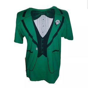 Green Tuxedo Shirt 1980 Large Men Irish Large